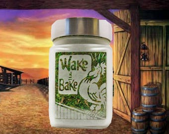 Wake and Bake Stash Jar, Weed Accessories, Stoner Stoner Birthday Gifts - Weed 420 gifts, Stoner Accessories, Cool Weed Jars