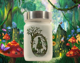 Alice in Wonderland Stash Jar & 420 Cannabis Edibles Canister - Stoner Girl Gift - Weed Accessories, Weed Stash Jars - Stoner Accessories