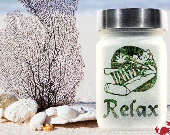 Time to Relax Deep Etched Glass Stash Jar