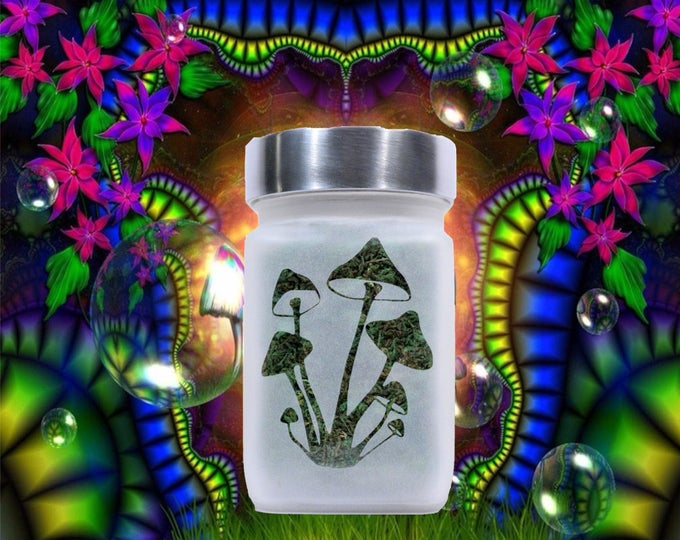 Psilocybin Psychedelic Magic Mushrooms Stash Jar - Weed Accessories, Stoner Gifts, Stash Jars - Cannabis Gifts - Stoner Accessories