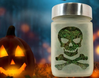 Skull Stash Jar and Herb Container by Twisted420Glass - Jolly Roger Stoner Gifts, Skull & Crossbones Stoner Halloween - Weed Jars for him