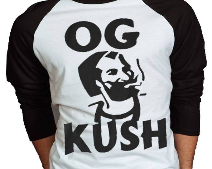 OG Kush Mens Weed Tshirt - 3/4 Sleeve Street Style Tee - Baseball Jersey - Raglan T-Shirt - Weed Shirt