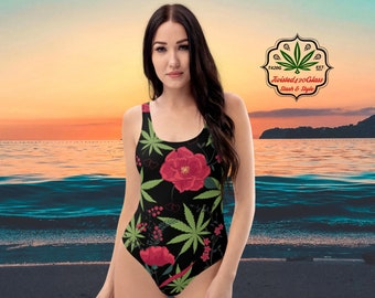 Cannabis & Roses Ladies One-Piece Swimsuit by Twisted420Glass, Sizes up to 3X!