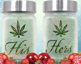 Cannabis Christmas Couples Stash Jars, 2Piece Xmas Gift Set