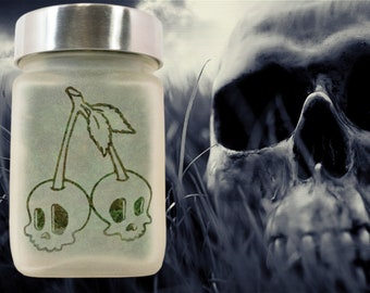 Twisted420Glass Spooky Stash Jar with Skull Cherries Design - Halloween Weed Accessories and Novelty Halloween Decor & Stoner Gifts