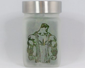 Superhuman Man with Pot Leaf Stash Jar - Weed Jar - Weed Accessories & Stoner Gifts - Weed Gift, Cannabis Edibles Storage