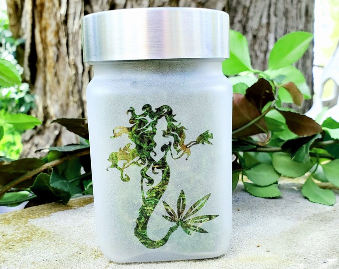 """Ethereal Mermaid Etched Glass Stash Jar by Twisted420Glass - Airtight, Odor Proof, 4"""" Tall x 2.5"""" Wide"""