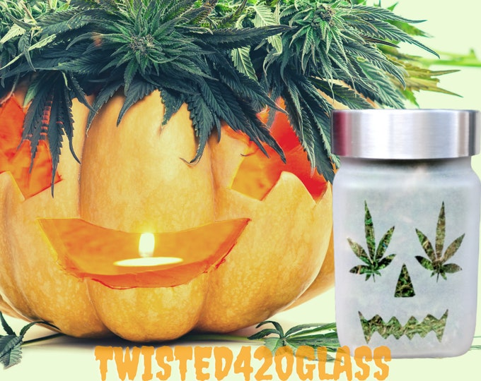 Twisted420Glass Mary Jane Jack-O-Lantern Stash Jar - Cute Pumpkin Halloween Gift - Designer Weed Container