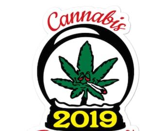 Cannabis Christmas 2019 Stickers, Funny Christmas Gift Labels, Cannabis Christmas Gift Tags, Fun Stocking Stuffer