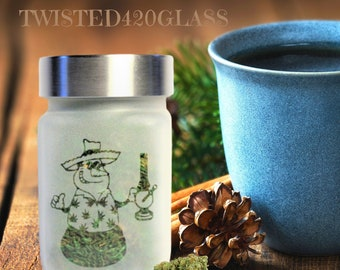 Faded Frosty Stash Jar - Weed Christmas, Cannabis Christmas 2020 - Weed Gifts & Stoner Accessories - Weed Gifts for Stoners