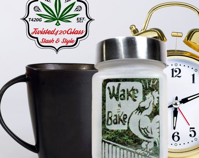 Wake and Bake Stash Jar, Weed Accessories, Stoner Stoner Birthday Gifts - Weed 420 gifts, Stoner Accessories, Cannabis and Coffee Stash Jars