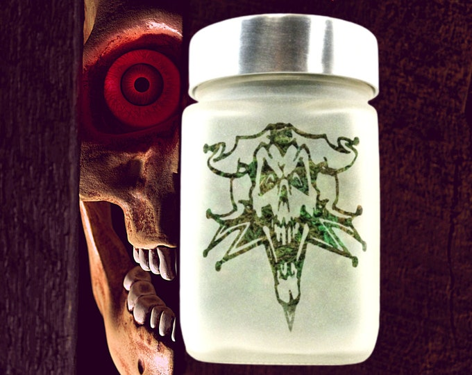 Twisted420Glass Joker Skull Glass Stash Jars - Airtight, Odor Proof, Weed Accessories Container, Witchy Intentions Spell Jar Halloween 2020