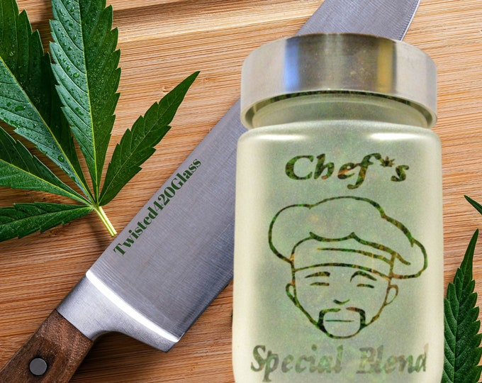 Twisted420Glass Chef's Special Blend Stash Jar - Edibles Container, Christmas Gift Ideas for Cannabis Cooks, Kitchen Accessories