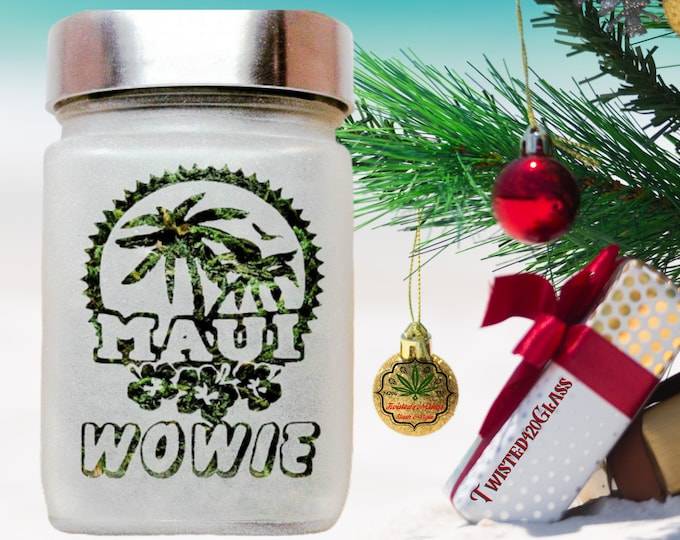 """Tropical Maui Wowie Etched Glass Stash Jars - Beachy Adult Party Favors - Airtight, Odor Proof, 4"""" Tall x 2.5"""" Wide"""