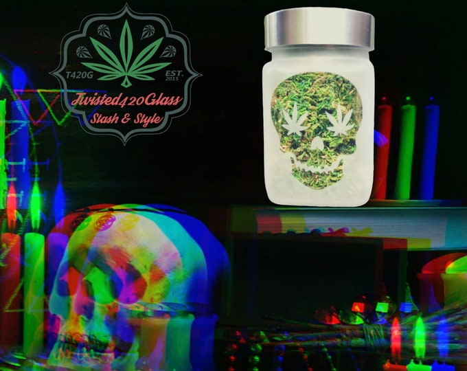 Twisted420Glass Halloween Spooky Skull Stash Jar - Day of the Dead Weed Jar, Candle Holders & Happy Halloween Decor