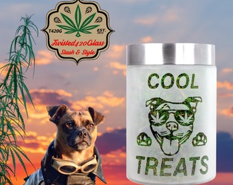 Cool Treat Etched Glass Goody Jar, Cookies & Edibles Canister
