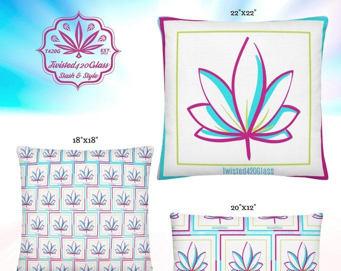 Summer Bloom Cannabis Flower Throw Pillows