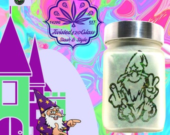 Wacky Wizard Etched Glass Stash Jar by Twisted420Glass - Airtight & Odor Proof Edibles Gift Jar