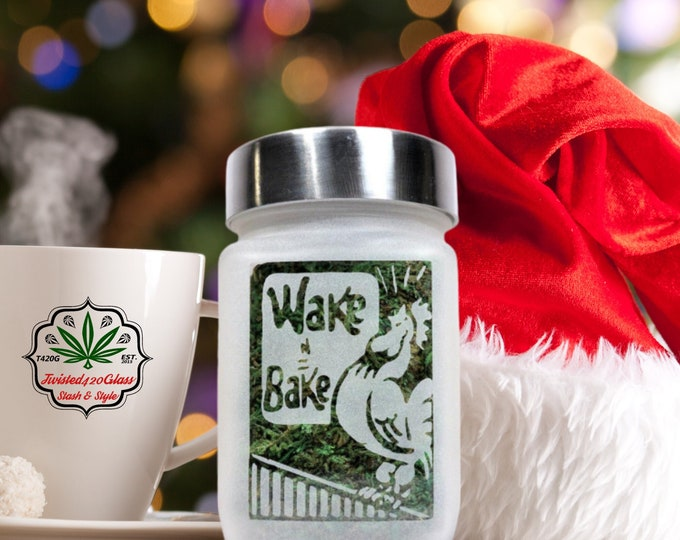 """Wake and Bake Morning Stash Jar by Twisted420Glass - Coffee & Cannabis Airtight, Odor Proof Canister, 4"""" Tall x 2.5"""" Wide"""