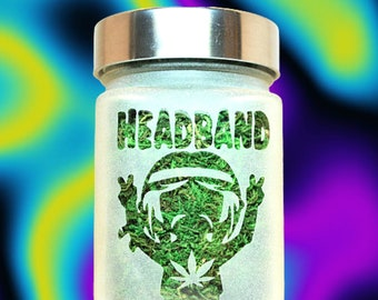 Headband Hippie Deep Etched Glass Stash Jar by Twisted420Glass - Airtight & Odor Proof Goodie and Treat Jar