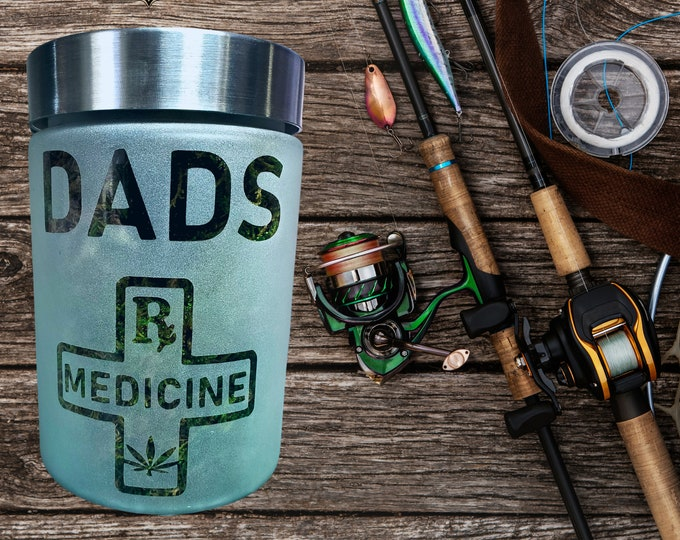 Dad's Medicine Etched Glass Stash Jar by Twisted420Glass - Airtight & Odor Proof Gift Jar