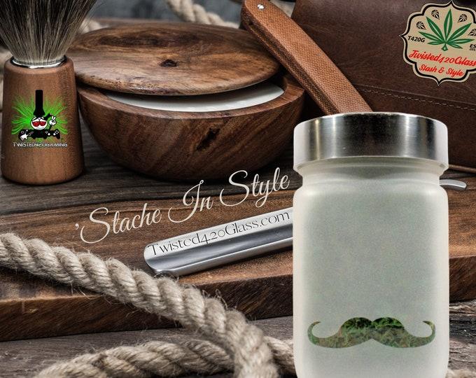 Modern Mans Stache Jar by Twisted420Glass -  Airtight Jar, Bathroom Storage &  Men's Mustache