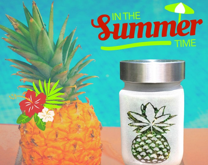 Perfectly Pineapple Etched Glass Stash Jar