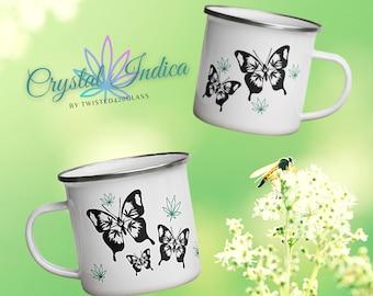Beautiful Butterfly Enamel Coffee Mug