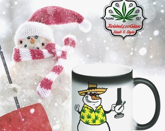 Faded Frosty Holiday Magic Coffee Mug - Snowman Christmas Coffee Cup *Stoned Santa's Stocking Stuffer* Wake and Bake Xmas