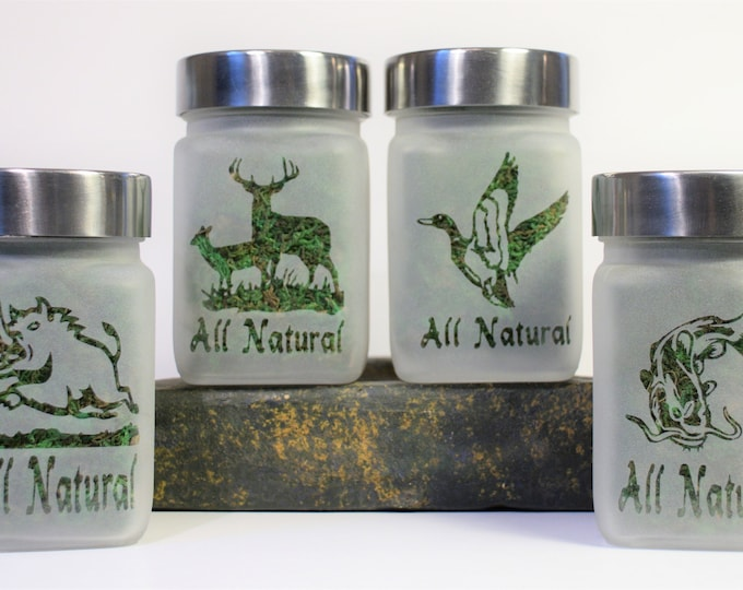 Weed Stash Jar Gift Set - All Natural Etched Glass Stash Jar and Weed Accessories Collection - Weed Gifts - Stoner Accessories