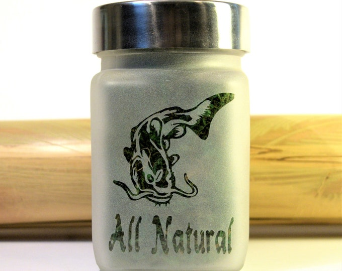Catfish All Natural Etched Glass Stash Jar & Herb Kitchen Storage by Twisted420Glass