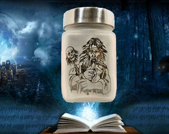 Wizard with Skull Scepter Etched Glass Stash Jar & Herb Storage