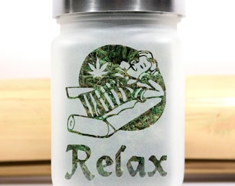 Relax with Pot Leaf Weed Jar