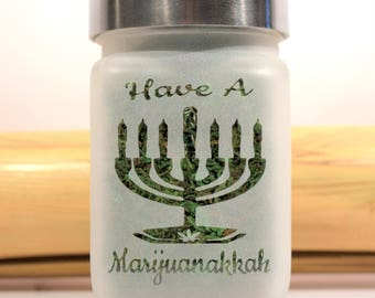 Marijuana Hanukkah Menorah Stash Jar