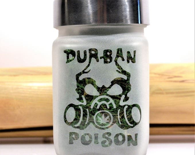 Durban Poison Etched Glass Stash Jar - Weed Accessories, Stoner Gifts, Stash Jars - Weed Jar - Stoner Accessories, Weed Gifts