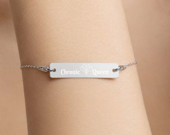 Chronic Queen Engraved Silver Bar Bracelet