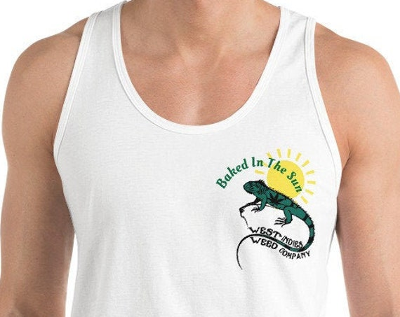 Baked In The Sun Tank Top, Cannabis Resort Wear & Summer Beach Wear, West Indies Weed Company Tee