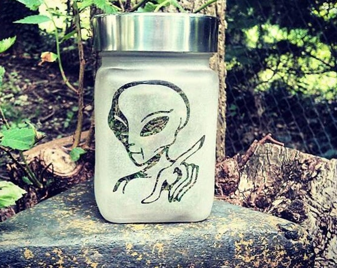 """Alien Visitor Etched Glass Stash Jar and Edibles Canisters - Airtight, Odor Proof, 4"""" Tall x 2.5"""" Wide"""