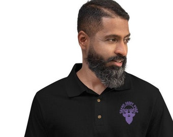 Men's Embroidered Grand Daddy Purp Cannabis Design Golf & Polo Shirt by Twisted420Glass