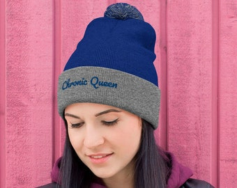 Ladies Chronic Queen Beanie, 420 Ladies Winter Hat, Chronic Gift for Ladies, Womens Weed Hats