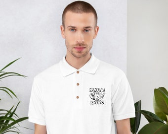Men's Embroidered Cannabis Polo with White Rhino Design, Urban and Street Wear by T420G - Marijuana Clothing for Men