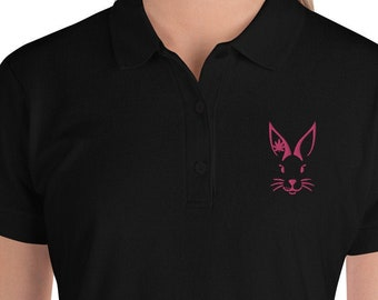 Black Embroidered Ladies Polo Shirt with Hot Pink Crystal Indica Bunny | Short Sleeve Golfing Shirt by Crystal Indica and Twisted420Glass