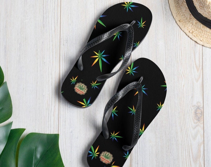 Funky Psychedelic Canna Leaf Sandal Flip-Flops by Twisted420Glass