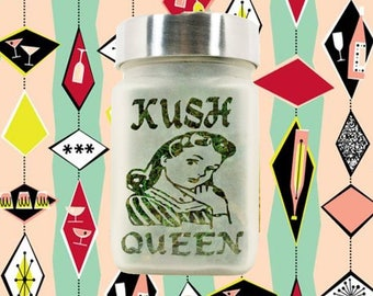 Kush Queen Stash Jar - Weed Accessories - Stoner Gifts 420 - Stash Jars for Weed - Stoner Girl Gifts - Weed Jars