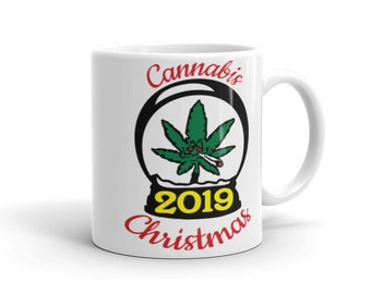Cannabis Christmas 2019 Coffee Cup, Coffee and Cannabis Christmas Mug, Weed Christmas Gift