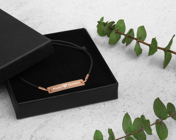 Kush Queen Engraved Silver Bar with Rose Gold Overlay, Adjustable Sting Bracelet - Cannabis Jewelry,  Weed Bracelet