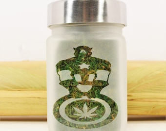 Captain America Stash Jar - Weed Gifts, Stoner Accessories, Stash Jars & Cannabis Gift - Weed Accessories, Weed Jars, Ganja Gift