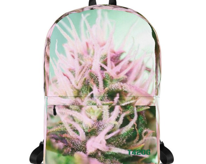 Featured listing image: Backpack with Cannabis Flower Design - 420 Back Pack - Weed Accessories - Stoner Girl Bag - 420 Gift - Weed Gifts for Her
