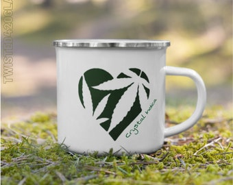 Love & Wild Herbs Coffee Cup, Fun Campers Gift, 420 Camping Cannabis and Coffee Mug, Wake N Bake Outdoors