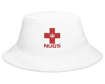 Unisex 420 Bucket Hat with Nugs and Potleaf Design, Embroidered Weed Hat